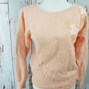 Vintage 80's fall leaves old lady granny sweater